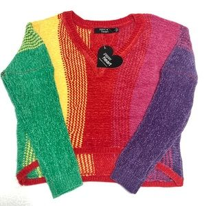 Paperheart Rainbow Cropped Sweater NWT